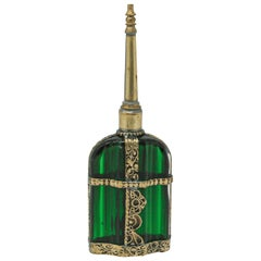 Moorish Emerald Green Glass Perfume Bottle Sprinkler with Embossed Metal Overlay