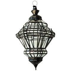 Moorish Granada Moroccan Glass and Metal Lantern