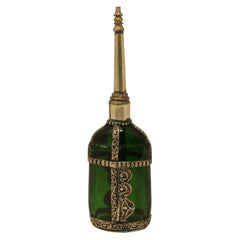 Moorish Green Glass Perfume Bottle Sprinkler with Embossed Metal Overlay