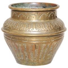 Moorish Hand-Etched Islamic Brass Pot