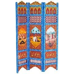 Moorish Hand-Painted Oasis Room Divider