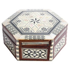 Moorish Handcrafted Octagonal Box with White Mother of Pearl Inlaid