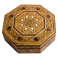 Moorish Inlaid Marquetry Mosaic Octagonal Jewelry Box