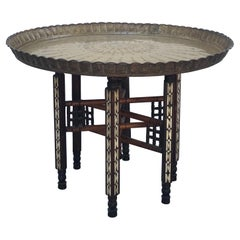 Moorish Inlaid Mother of Pearl Six Legged Brass Tray Top Folding Side Table