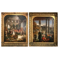 Moorish Interior Scenes a Pair of Paintings by G.P. Jenner