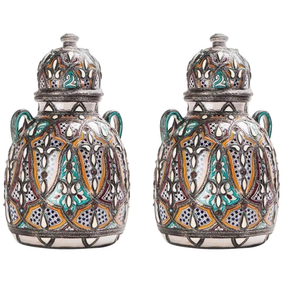 Palatial Lidded Vase or Urn in Ceramic with Brass Inlay, a Pair