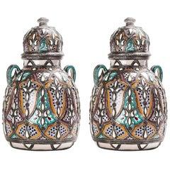 Moorish Lidded Vase or Urn in Ceramic with Brass inlay, a Pair