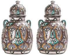 Moorish Lidded Vase or Urn in Ceramic with Brass inlay, a Pair