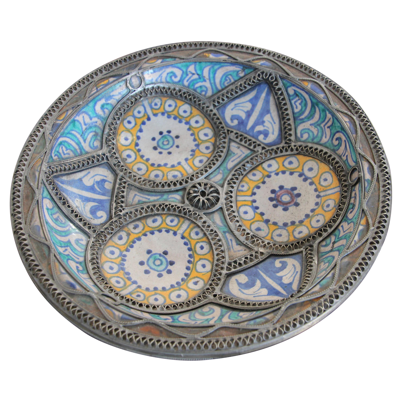 Moorish Moroccan Ceramic Bowl Adorned with Silver Filigree from Fez