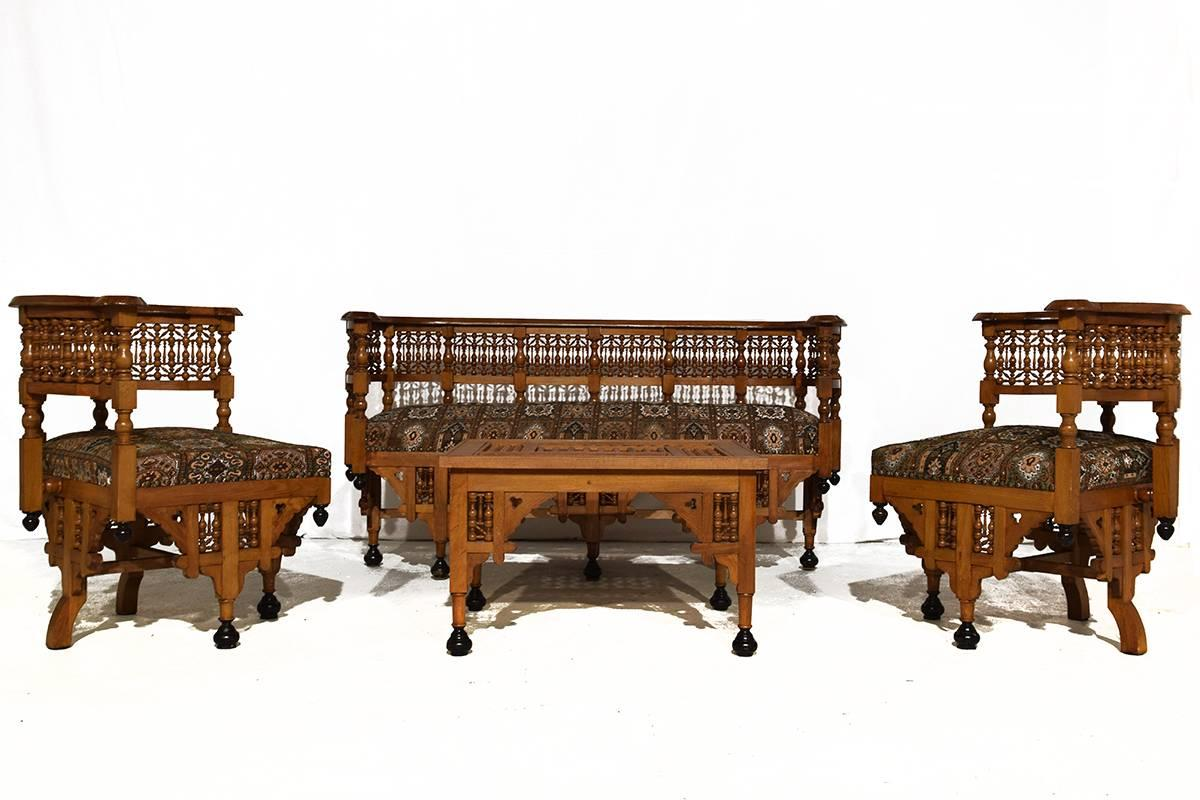 Early 20th Century Moorish Moroccan Made Lounge Set. Including A Settee,  Two Easy Chairs