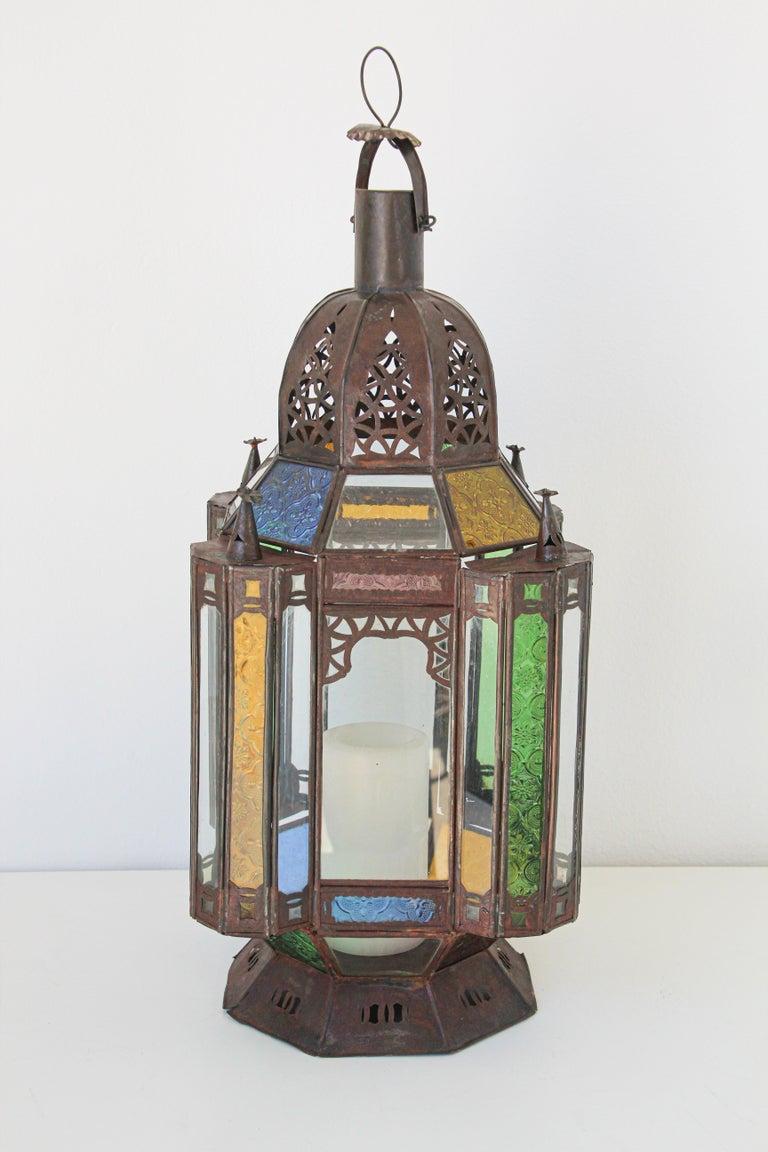 Moorish Moroccan Metal and Glass Candle Lantern For Sale 5