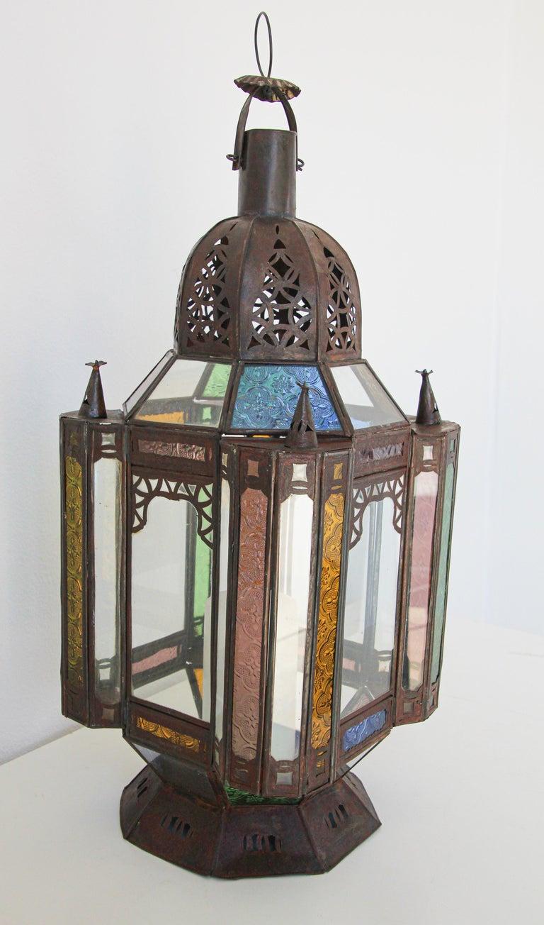 Moorish Moroccan Metal and Glass Candle Lantern For Sale 6