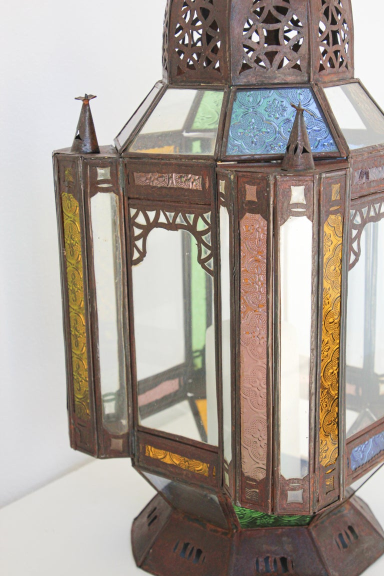 Moorish Moroccan Metal and Glass Candle Lantern For Sale 7