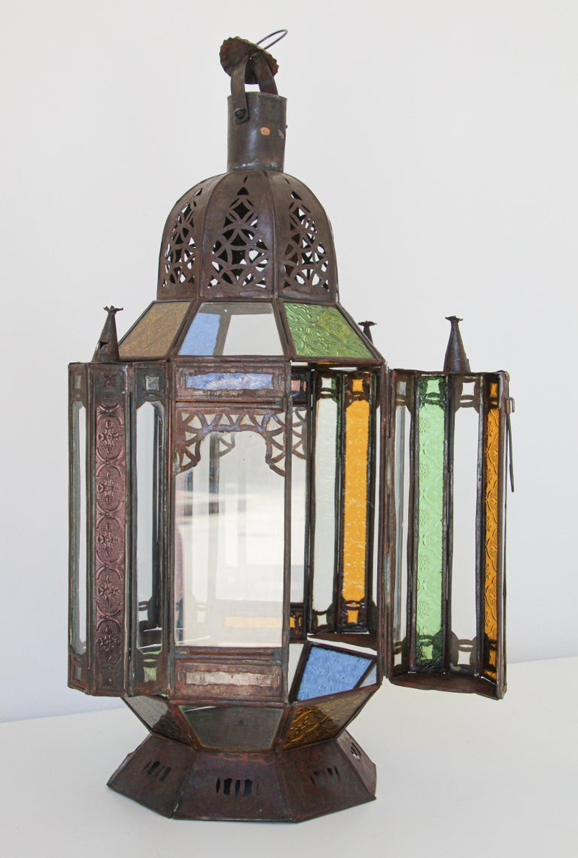 Moorish Moroccan Metal and Glass Candle Lantern For Sale 8