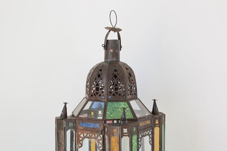 Gilt Moorish Moroccan Metal and Glass Candle Lantern For Sale