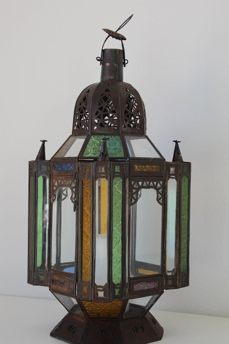 Moorish Moroccan Metal and Glass Candle Lantern For Sale 2