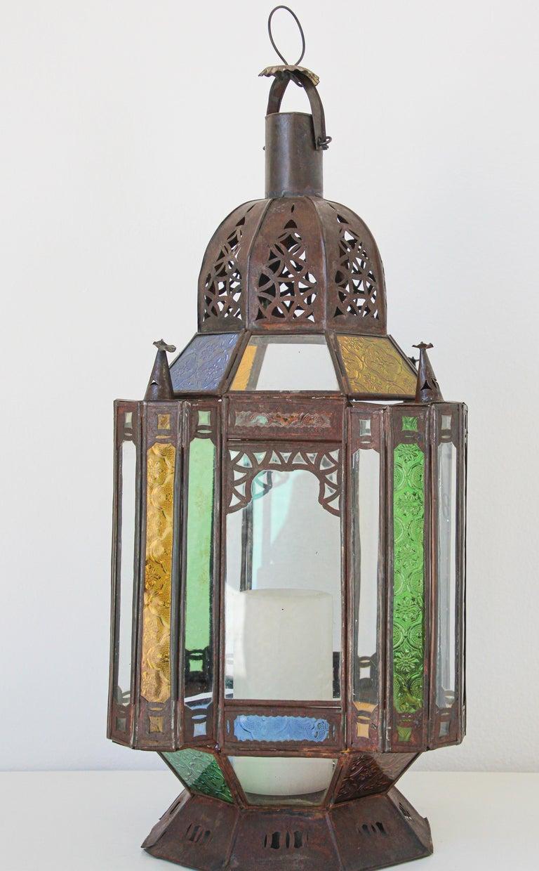Moorish Moroccan Metal and Glass Candle Lantern For Sale 3