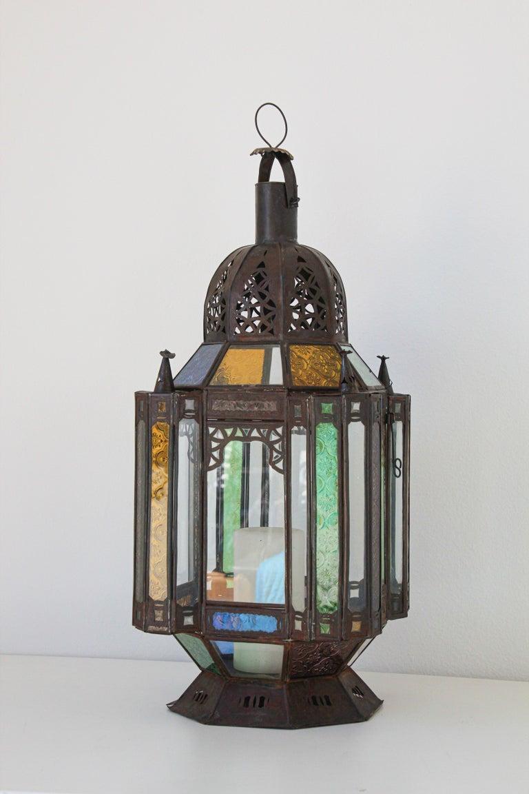 Moorish Moroccan Metal and Glass Candle Lantern For Sale 4