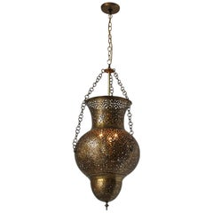 Moorish Moroccan Polished Brass Chandelier