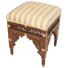 Moorish Mother of Pearl Inlaid Bench