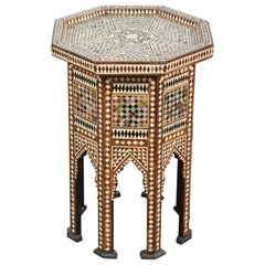 Moorish Octagonal Side Table Inlay with Mother of Pearl