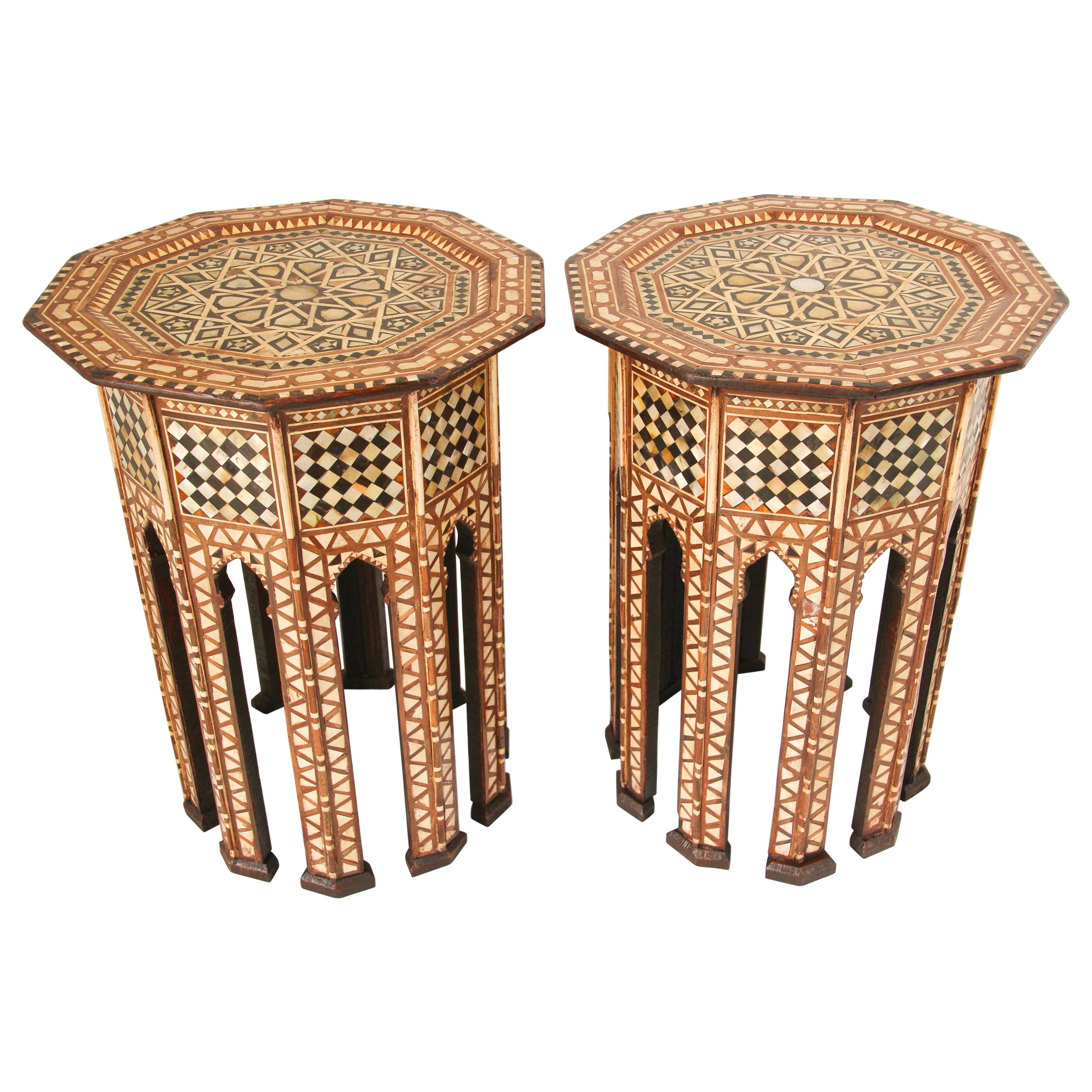 Moorish Octagonal Tables Inlaid with Mother of Pearl