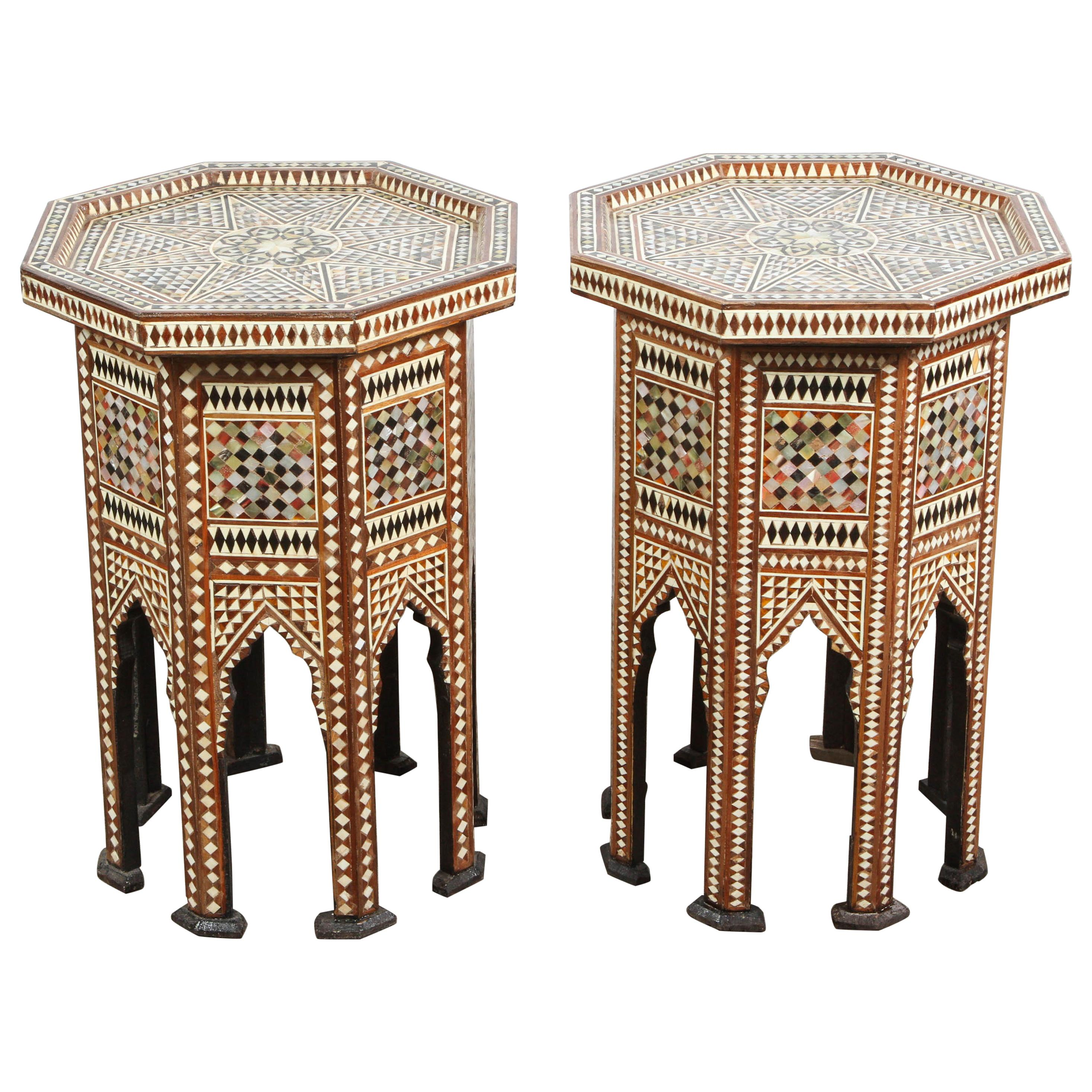 Moorish Octagonal Tables Inlay with Mother of Pearl