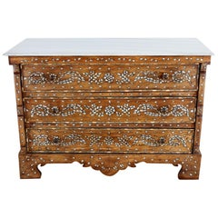 Moorish Pearl Inlay Carved Wedding Chest of Drawers