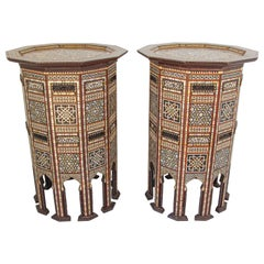 Moorish Side Pedestal Tables Inlaid with Mother of Pearl