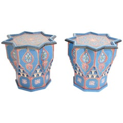 Moorish Star Shape Blue Pair of Side tables