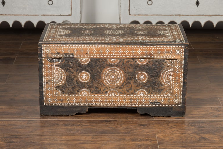 Moorish Style 1920s Blanket Chest with Geometric Mother of Pearl Inlaid Decor For Sale 10