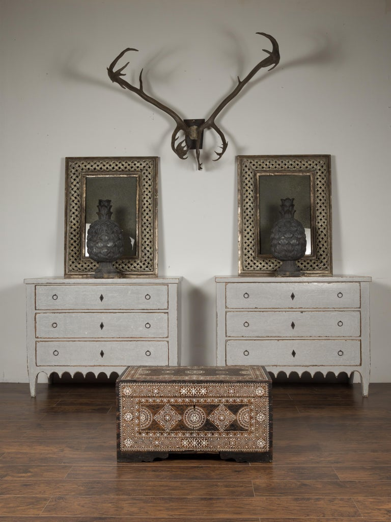 Syrian Moorish Style 1920s Blanket Chest with Geometric Mother of Pearl Inlaid Decor For Sale