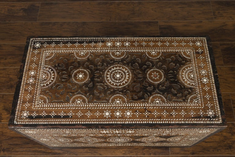 Inlay Moorish Style 1920s Blanket Chest with Geometric Mother of Pearl Inlaid Decor For Sale