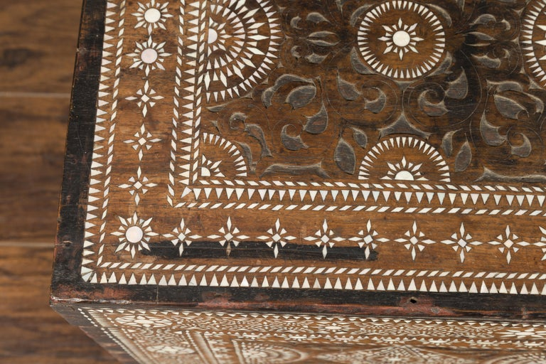 Moorish Style 1920s Blanket Chest with Geometric Mother of Pearl Inlaid Decor In Good Condition For Sale In Atlanta, GA