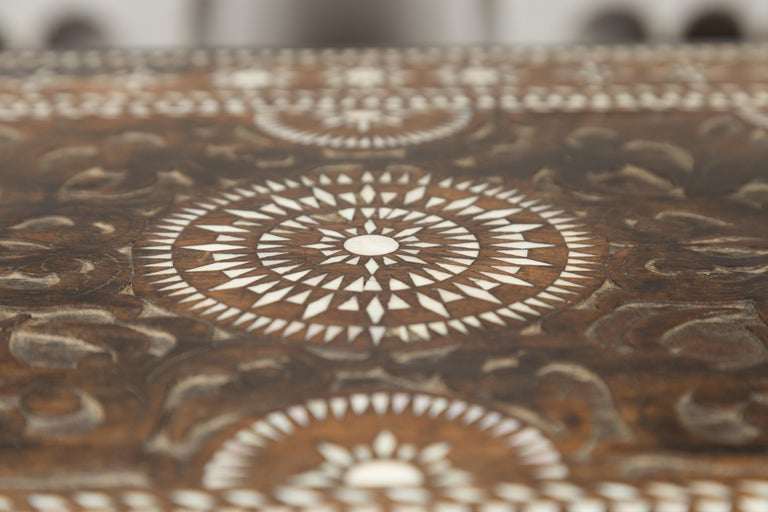 Moorish Style 1920s Blanket Chest with Geometric Mother of Pearl Inlaid Decor For Sale 1