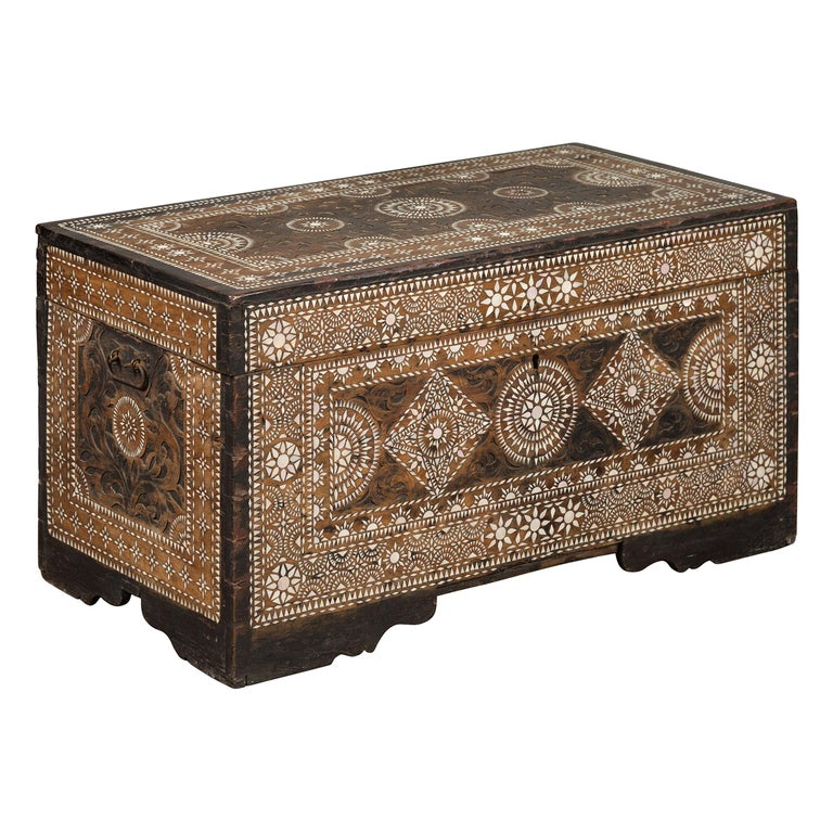 Moorish Style 1920s Blanket Chest with Geometric Mother of Pearl Inlaid Decor For Sale