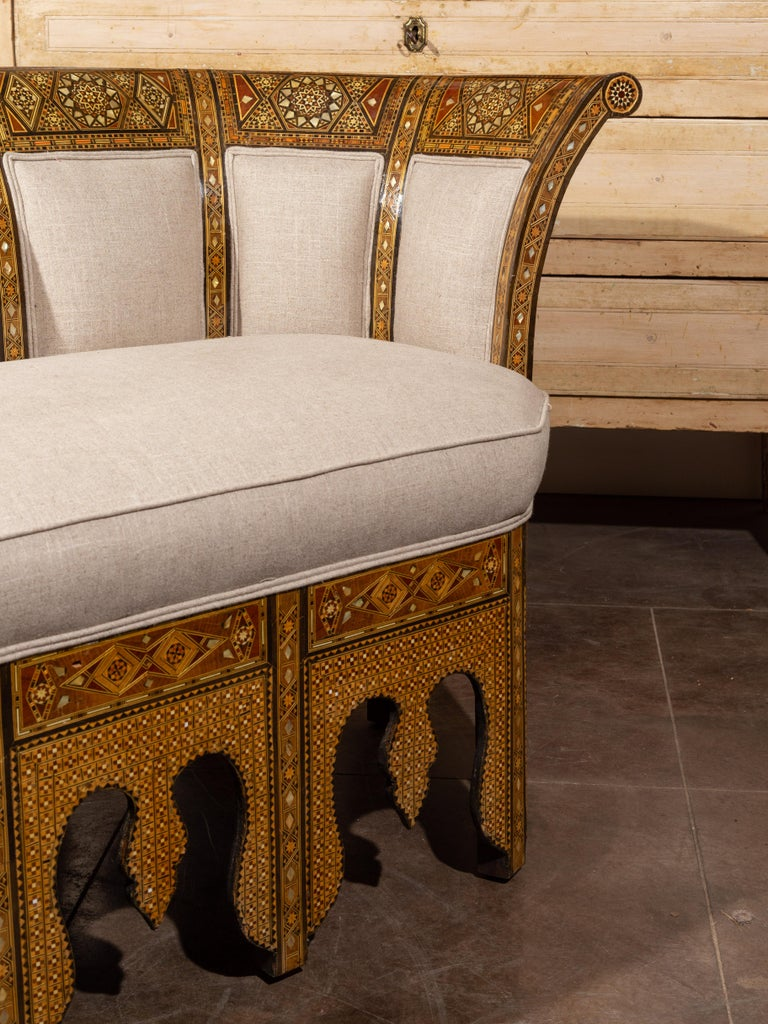Moorish Style 1920s Settee with Inlaid Geometric Décor and Out-Scrolling Back For Sale 4