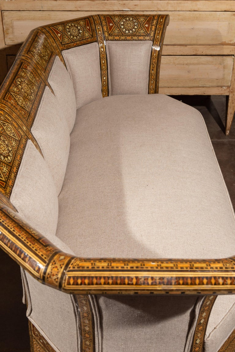 Moorish Style 1920s Settee with Inlaid Geometric Décor and Out-Scrolling Back For Sale 5