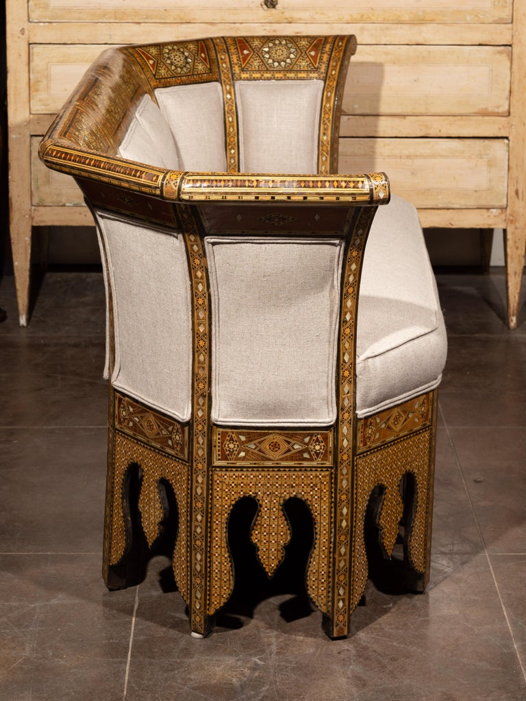 Moorish Style 1920s Settee with Inlaid Geometric Décor and Out-Scrolling Back For Sale 6