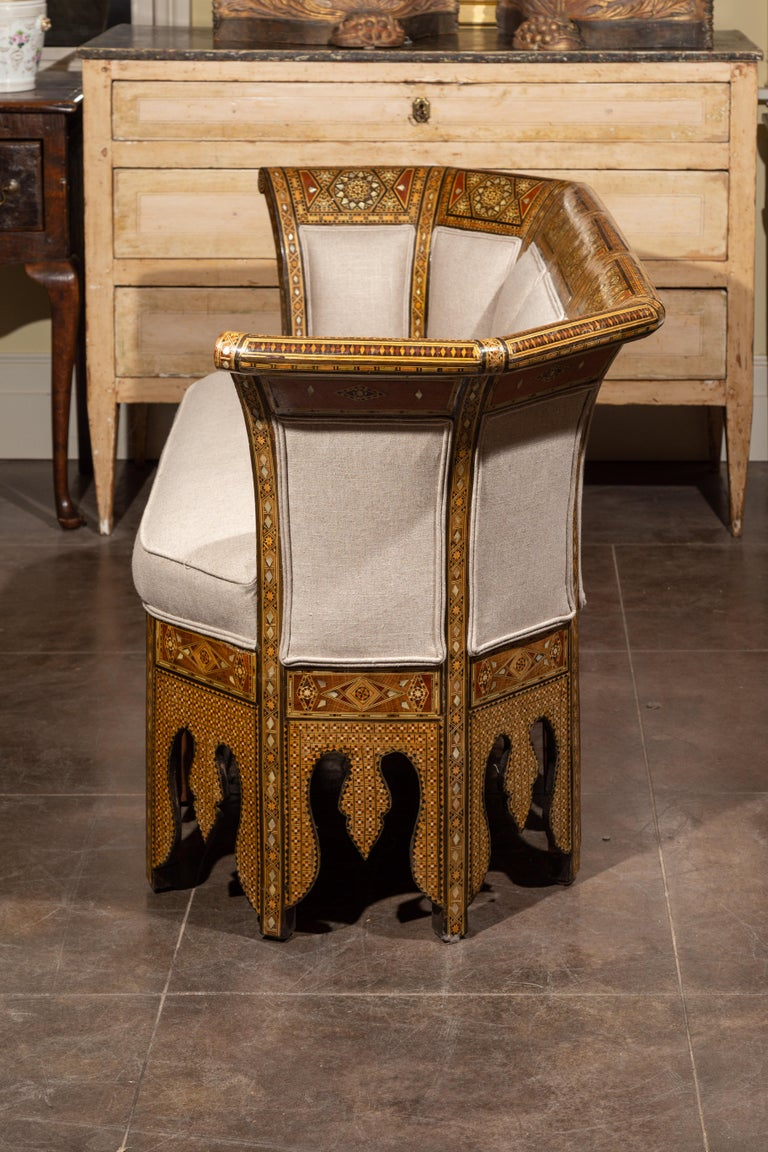 Moorish Style 1920s Settee with Inlaid Geometric Décor and Out-Scrolling Back For Sale 9