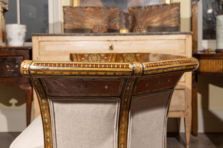 Moorish Style 1920s Settee with Inlaid Geometric Décor and Out-Scrolling Back For Sale 10