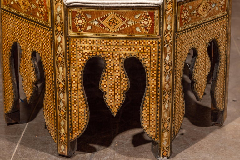 Moorish Style 1920s Settee with Inlaid Geometric Décor and Out-Scrolling Back For Sale 11