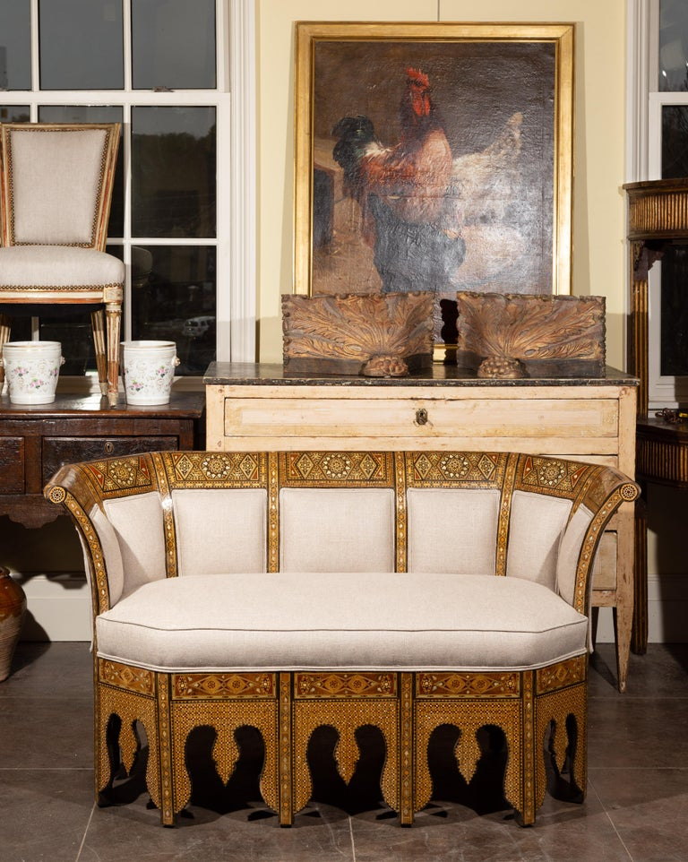 Syrian Moorish Style 1920s Settee with Inlaid Geometric Décor and Out-Scrolling Back For Sale