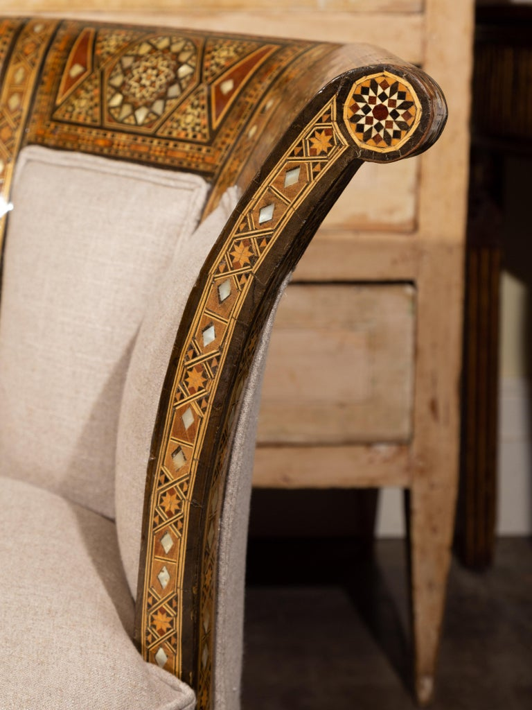 20th Century Moorish Style 1920s Settee with Inlaid Geometric Décor and Out-Scrolling Back For Sale