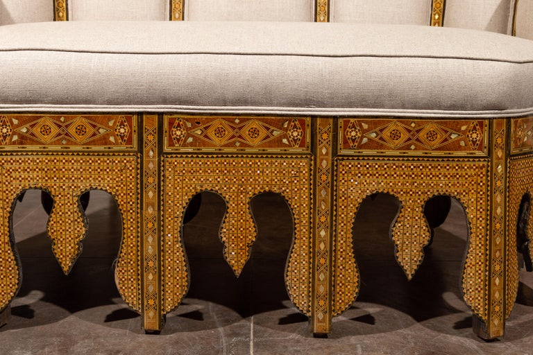 Mother-of-Pearl Moorish Style 1920s Settee with Inlaid Geometric Décor and Out-Scrolling Back For Sale