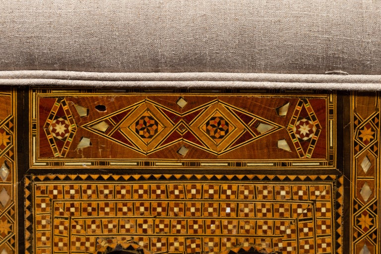 Moorish Style 1920s Settee with Inlaid Geometric Décor and Out-Scrolling Back For Sale 1