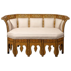 Moorish Style 1920s Settee with Inlaid Geometric Décor and Out-Scrolling Back