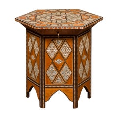 Moorish Style Syrian Hexagonal Table with Lift Top and Geometric Décor, 1930s