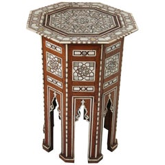 Moorish Syrian Octagonal Pedestal Table Inlaid with Mother of Pearl