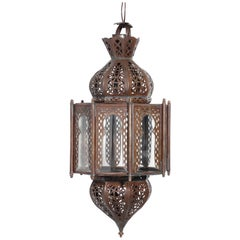 Moorish Clear Glass Lantern, Octagonal Shape